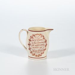 """Red Transfer-decorated Creamware """"Success to the Crooked but Interesting Town of Boston!"""" Jug"""