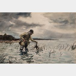 John Whorf (American, 1903-1959)      Duck Hunter/Farm Study:  A Double-sided Work