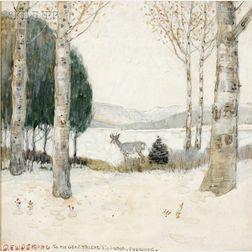 Edwin Willard Deming (American, 1860-1942)      Lot of Two Western Views: Deer in the Winter Woods and Riding with the Buffalo