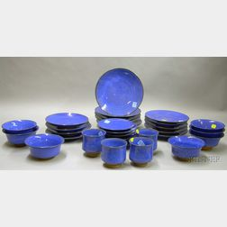 Approximately Thirty Pieces of Modern Great Barrington Glazed Pottery Tableware.