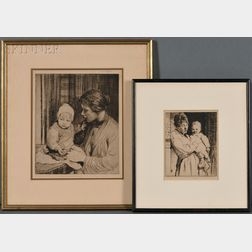 William Lee-Hankey (British, 1869-1952)      Two Images of Motherhood:  L'enfant s'amuse