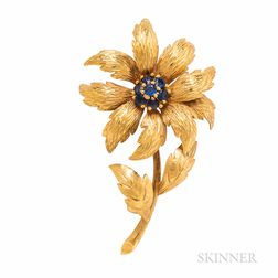 Tiffany & Co. 18kt Gold and Sapphire Flower Brooch
