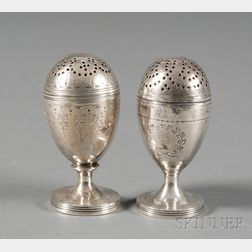 Two George III Sterling Silver Bun Pepper Casters