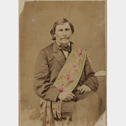 carte de visite by A.W. Barker of Partee, Head Chief of the Ottawa