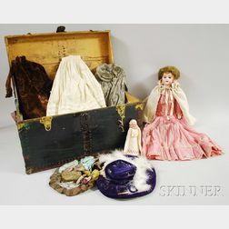 Trunk with German Bisque Doll and Clothes