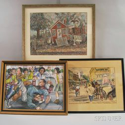 Three Framed Works:      American School, 20th Century, Antiques Shop
