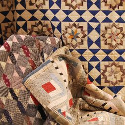 Three Hand-stitched Pieced Cotton Patchwork Quilts