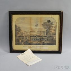 Framed Hand-colored Military-themed Engraving Target Firing State Fencibles, Capt. J. Page, The Seat of Dr. William Wetherill, Fatland
