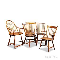 Five Bamboo-turned Windsor Chairs