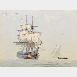 """Derek George Montague Gardner (British, 1914-2007)      """"Drying her topsails""""/His Britannic Majesty's Ship """"WARRIOR"""" at anchor"""