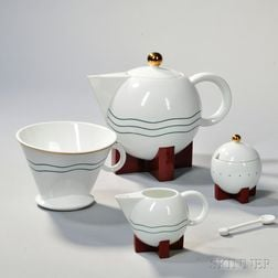 """Michael Graves (1939-2015) """"The Big Dripper"""" Coffeepot with Sugar and Creamer"""