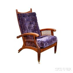 Carved Oak Morris Chair