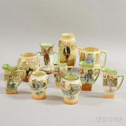 Ten Pieces of Royal Doulton Ceramic Dickens Ware