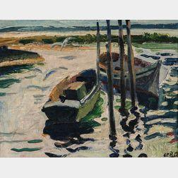 Loïs Mailou Jones (American, 1905-1998)      Dinghies at a Shallow Mooring