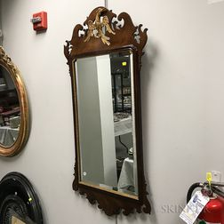 Chippendale-style Parcel-gilt Mahogany Scroll-frame Mirror