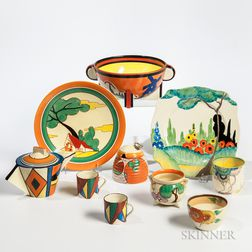 Ten Clarice Cliff Items
