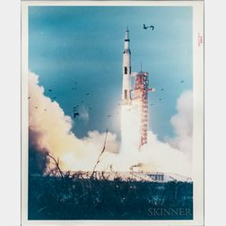 Apollo 8, 9, and 10, Saturn V Liftoff and Pre-Launch, Three Photographs.
