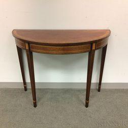 Mahogany Veneer Demilune Side Table