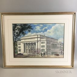 Framed Architectural Watercolor Rendering of a Church
