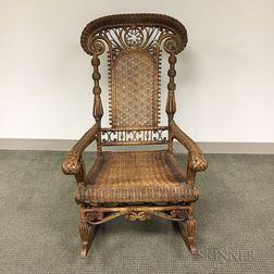 Fancy Wicker Armed Rocking Chair
