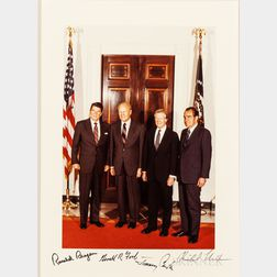 American Presidents: Ronald Reagan (1911-2004); Gerald R. Ford (1913-2006); Jimmy Carter (b. 1924); and Richard Nixon (1913-1994), Sign