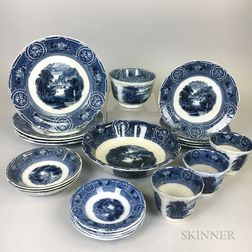 Twenty Pieces of Wedgwood Blue and White Transfer-decorated California-pattern Tableware.     Estimate $200-300
