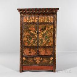 Polychrome Painted Shrine Cabinet