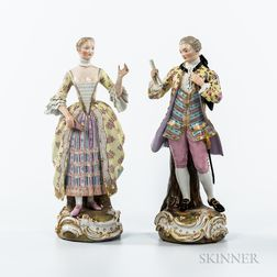 Pair of Meissen Porcelain Figures of a Man and Woman
