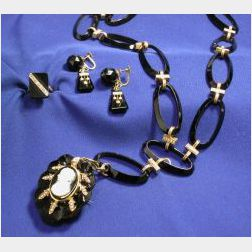 Victorian Onyx and Seed Pearl Jewelry Items