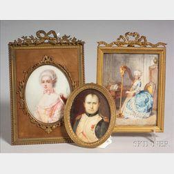 Three Continental Portrait Miniatures on Ivory