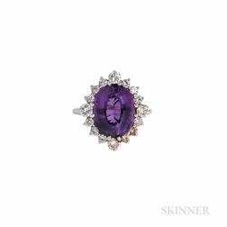 18kt White Gold, Amethyst, and Diamond Ring
