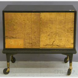 Japanese-style Gilt and Black Lacquer Two-door Cabinet