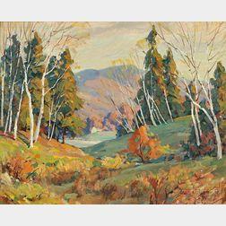 Leo B. Blake (American, 1887-1976)    Where the Birches Are Many