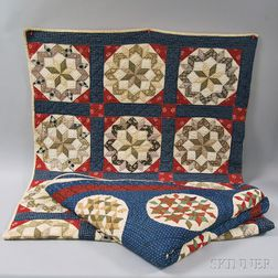 Two Hand-stitched Pieced Cotton Patchwork Quilts