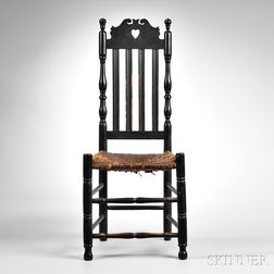 Black-painted Heart and Crown Side Chair