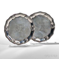 Two George II Sterling Silver Salvers