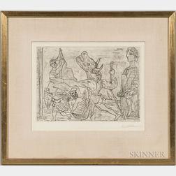 Pablo Picasso (Spanish, 1881-1973)      Minotaure aveugle guidé dans la nuit par une petite fille au pigeon