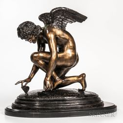After Jean-Antoine Injalbert (French, 1845-1933)       Modern Bronze Figure of an Angel