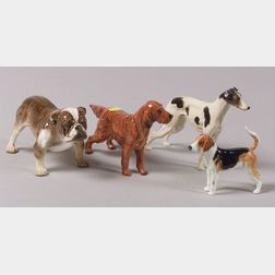 Four Royal Doulton Bone China Figures of Dogs