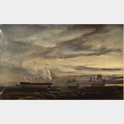 Anglo/American School, 19th Century    War Ships and Other Vessels, Sunset.