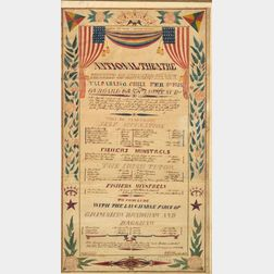 Framed Watercolor Playbill for the National Theater Performed Aboard the USS St. Lawrence,C.P. Sharey Artist/ C.W. B...