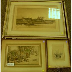 Lot of Four Etchings: Auguste Brouet  (French, 1872-1941 ),   Bateau de Peche a Port Haliguen