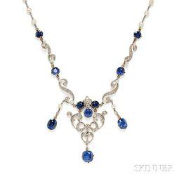 Edwardian Sapphire and Diamond Necklace