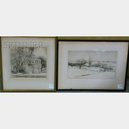 Lot of Two Etchings by Kerr Eby (American, 1889-1946):      ...Drifting [snowy landscape]