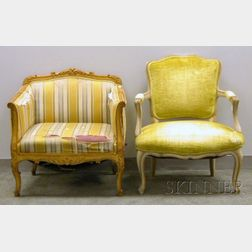 Louis XV Style Upholstered Carved Wooden Bergere and Fauteuil
