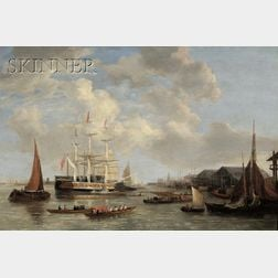 """Attributed to Joseph Francis Ellis (British, 1783-1848)      The Royal Yacht """"ROYAL SOVEREIGN"""" Off Deptford"""