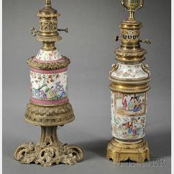 Two Rose Mandarin Porcelain Metal-mounted Lamp Bases