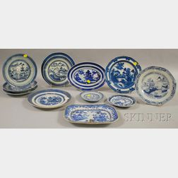 Twelve Pieces of Chinese Export Porcelain Canton and Six Pieces of Assorted Chinese   Porcelain Tableware
