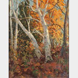 Leo B. Blake (American, 1887-1976)      Our Berkshire Birches