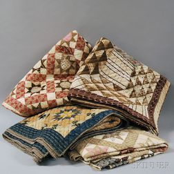 Four Hand-stitched Pieced Cotton Patchwork Quilts